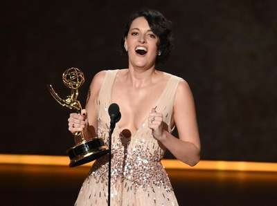 Phoebe Waller-Bridge accepts the award for outstanding writing