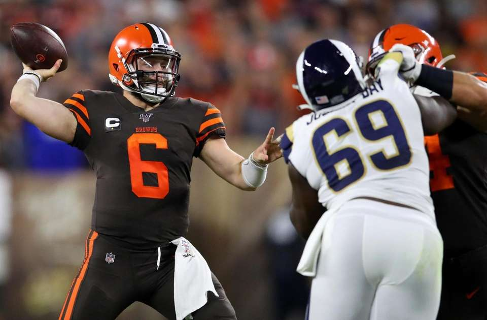 Quarterback Baker Mayfield of the Cleveland Browns passes