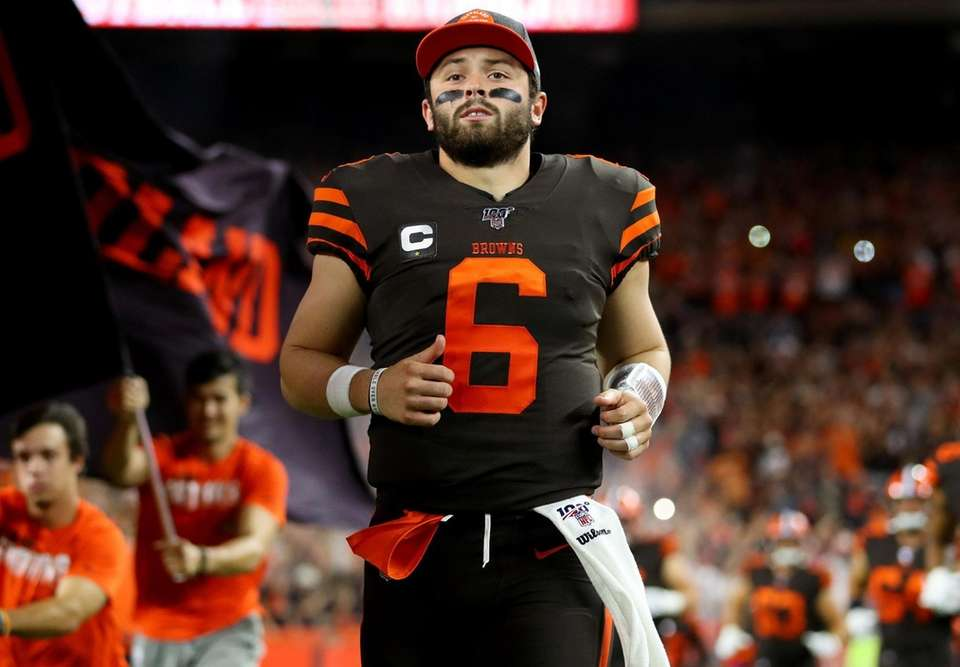 Quarterback Baker Mayfield of the Cleveland Browns enters