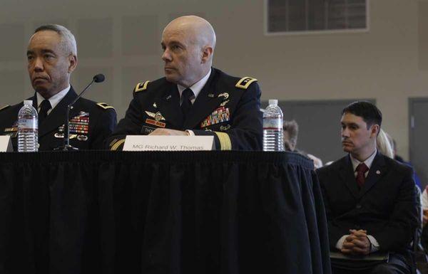 John Millan, right, and Maj. Gen. Lloyd Miles