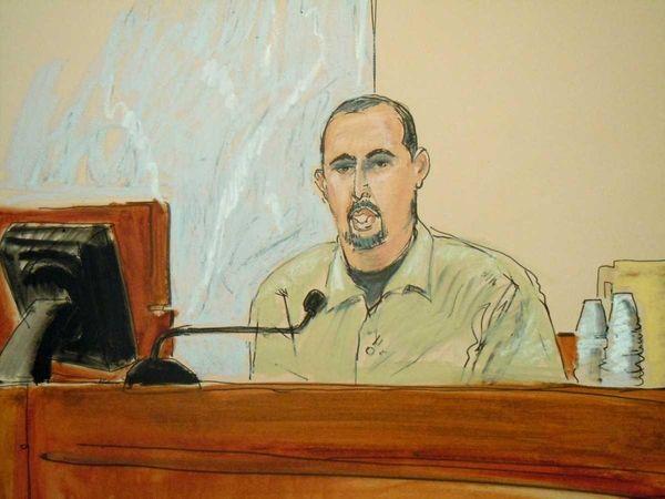 In this courtroom sketch, Najibullah Zazi testifies in