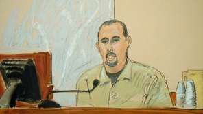 In this courtroom sketch, Najibullah Zazi testifies in