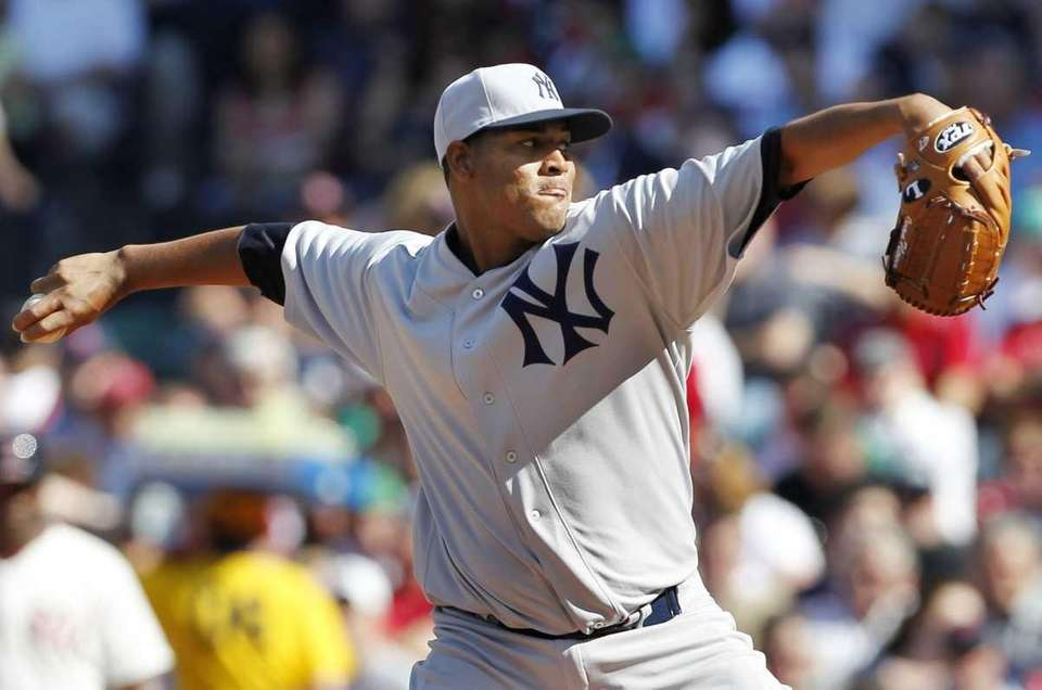 New York Yankees' Ivan Nova pitches in the