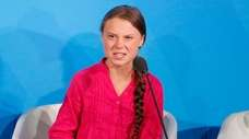 Environmental activist Greta Thunberg of Sweden addresses the