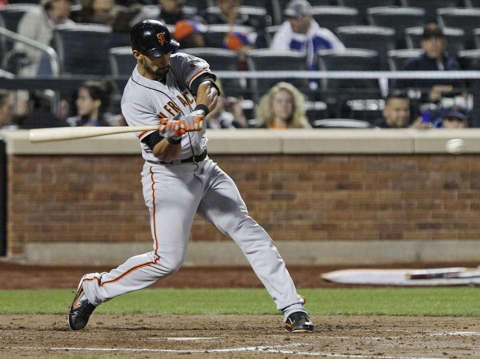 San Francisco Giants' Angel Pagan hits a home