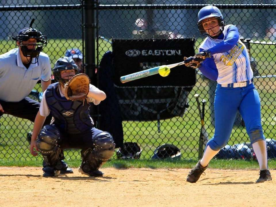 Kellenberg's Amanda Crimarco connects for a hit against