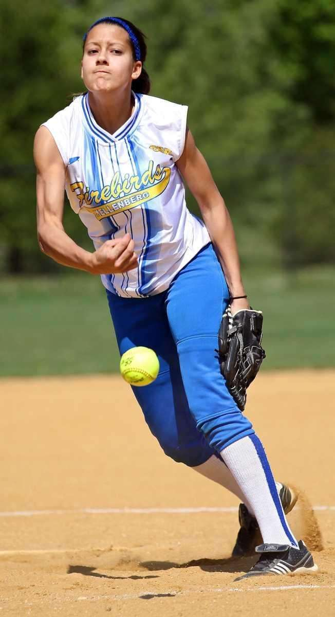 Kellenberg's starting pitcher Sabrina DeAngelis #8 delivers. (April