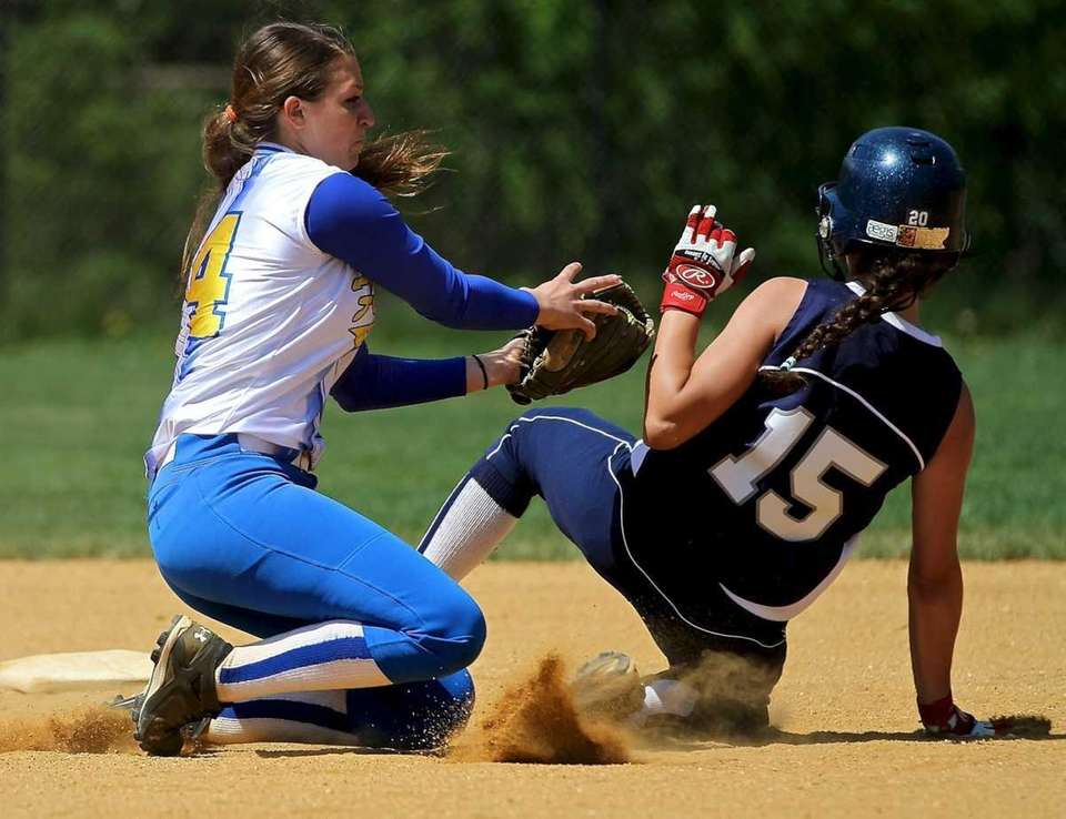 Kellenberg SS Amanda Crimarco #14 just misses with