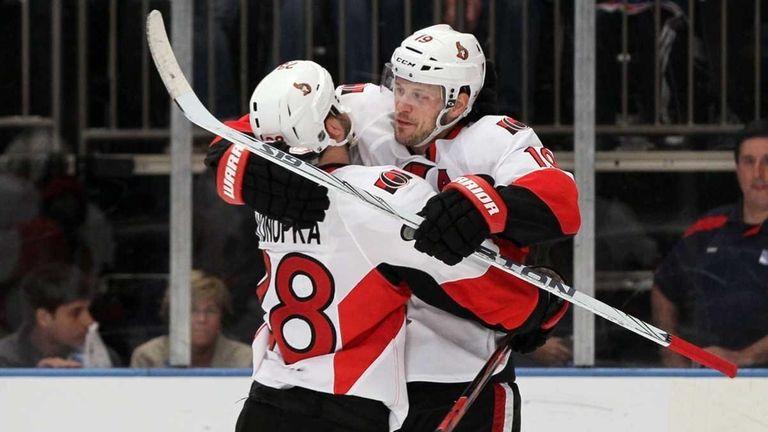 Jason Spezza of the Ottawa Senators celebrates his