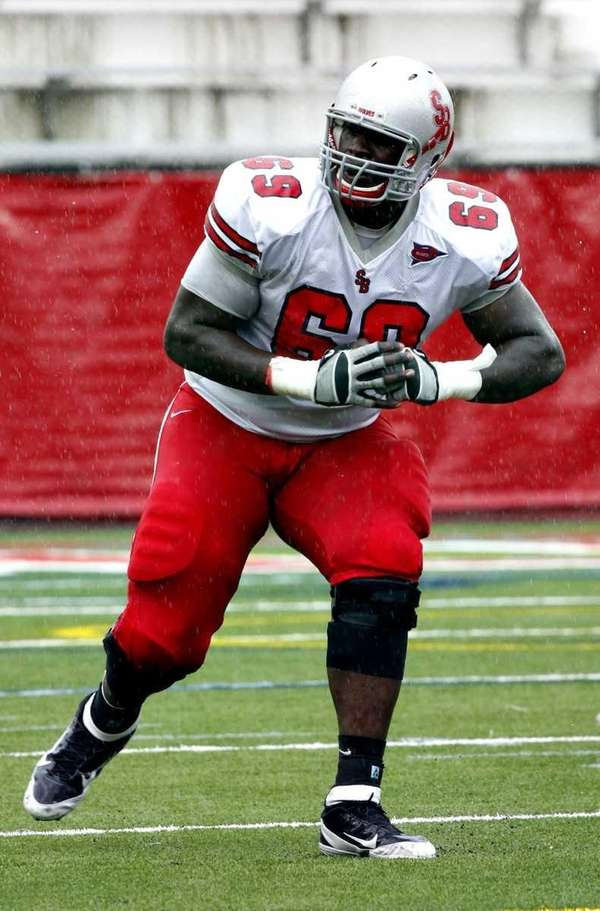 Stony Brook offensive lineman Michael Bamiro. (April 22,