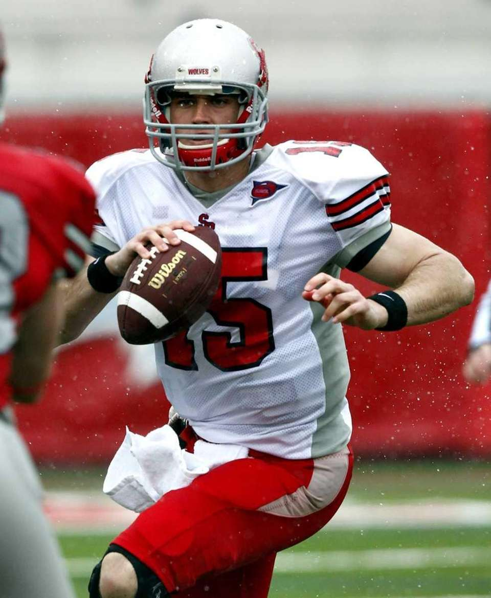 Stony Brook quarterback Kyle Essington (15) during the