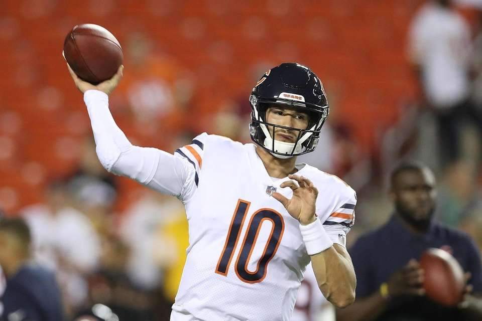 Mitchell Trubisky of the Chicago Bears warms up