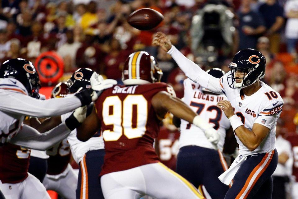 Chicago Bears quarterback Mitchell Trubisky throws under pressure