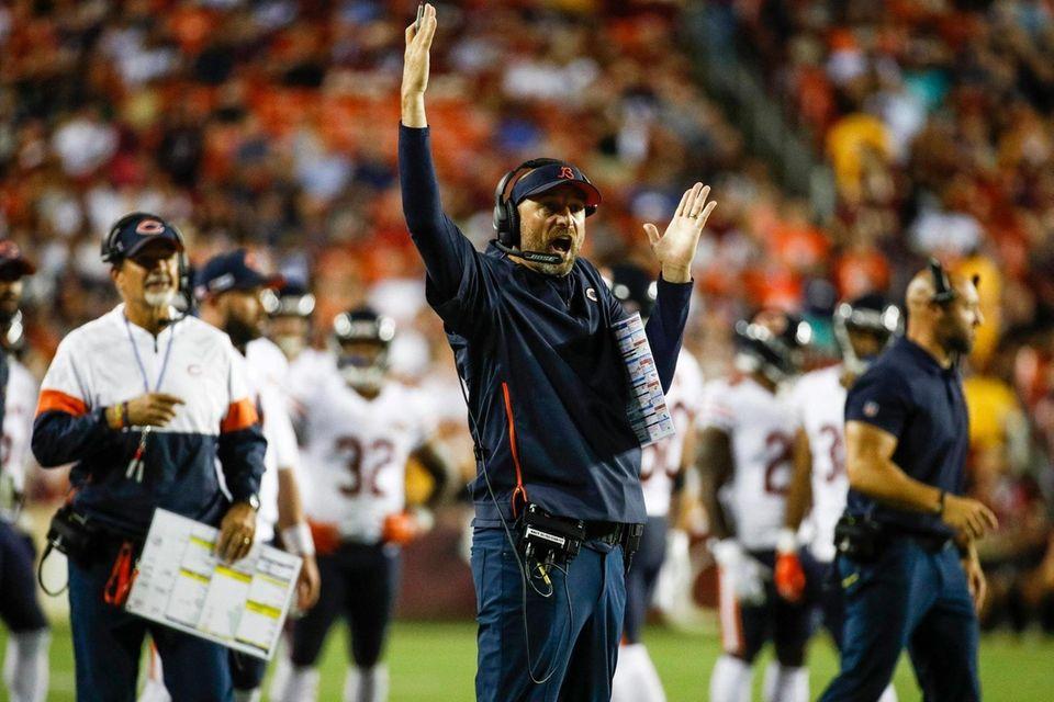 Chicago Bears head coach Matt Nagy, center, celebrates