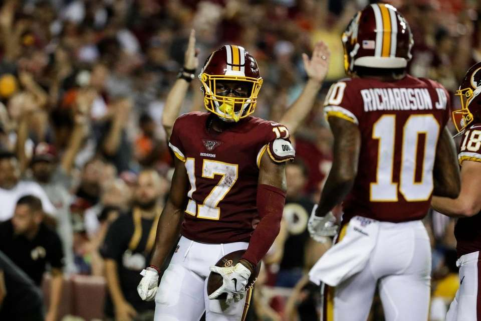 Washington Redskins wide receiver Terry McLaurin celebrates his