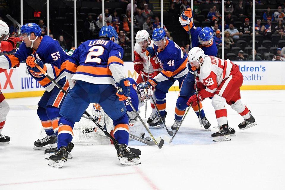 Islanders goalie Semyon Varlamov gathers the puck during