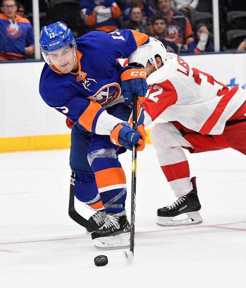 Matthew Barzal of the Islanders stickhandles the puck