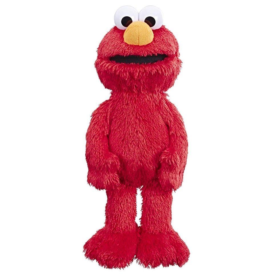 This plush Elmo toy speaks English and Spanish,