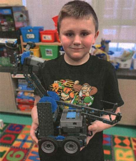 Kidsday reporter Ian Armstrong with his Vex creation.