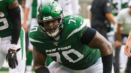 Jets offensive guard Kelechi Osemele against the Bills