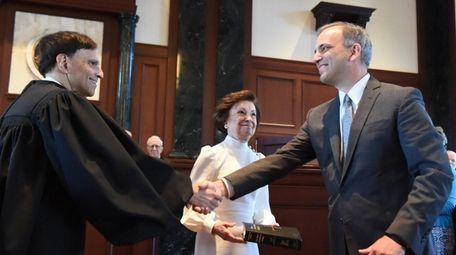 Judge Joseph Bianco, right, was sworn in by