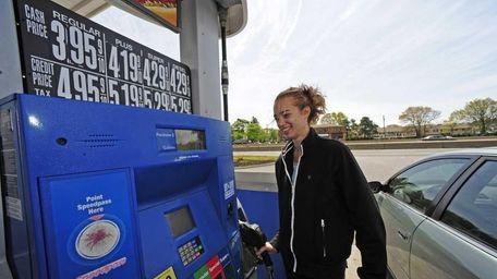 Lindsey Ohland of West Babylon, gets gas at