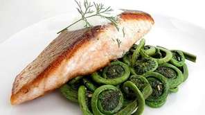 Crispy Pan-Seared Salmon with Sauteed Fiddlehead Ferns and