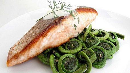 Crispy Pan-Seared Salmon with Sauteed Fiddlehead Ferns and