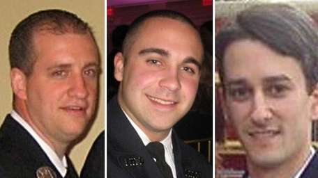 From left, firefighters John Waldron, Anthony Mauro and