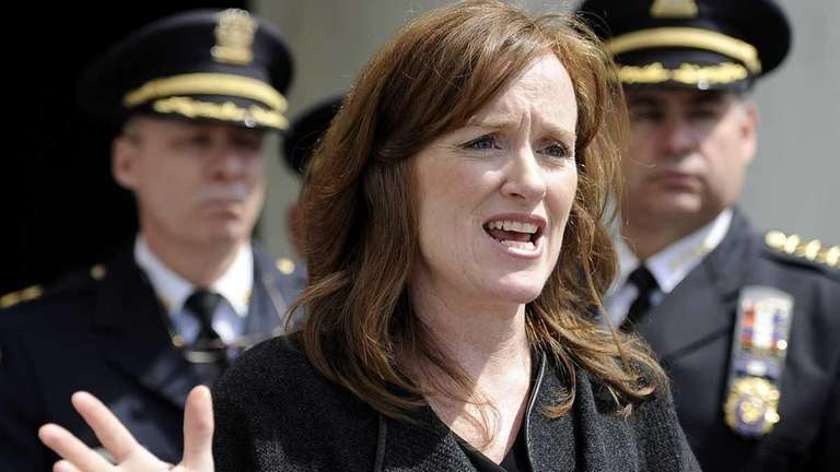 Nassau County District Attorney Kathleen Rice was joined