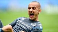 Alexandru Mitrita of New York City FC celebrates