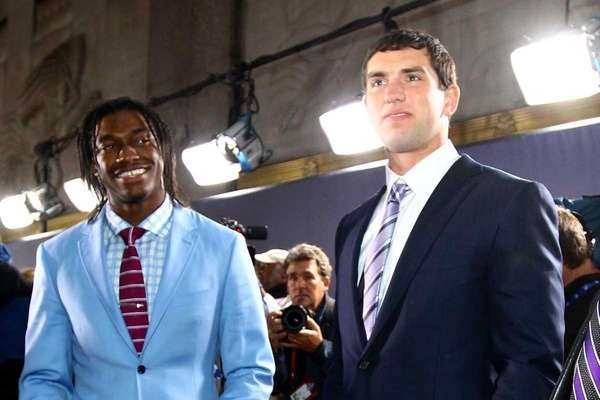 (L-R) Quarterback prospects Robert Griffin III from Baylor