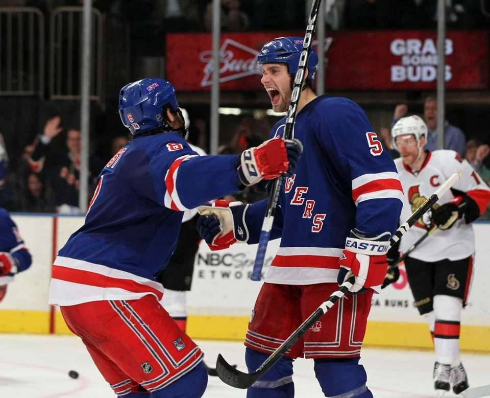 Dan Girardi #5 of the New York Rangers