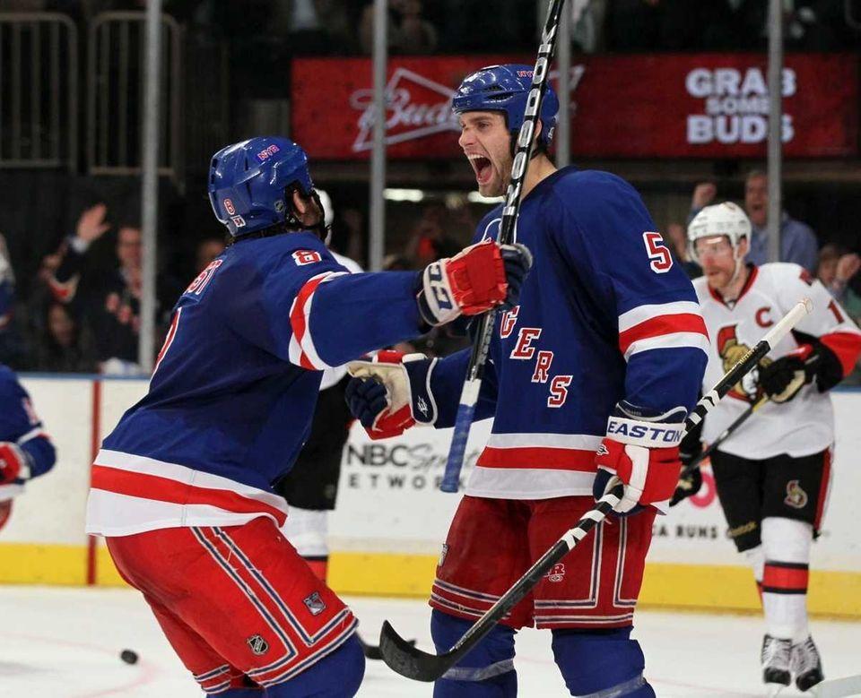Dan Girardi #5 of the New York Rangers