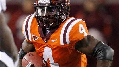 Virginia Tech running back David Wilson (4) looks