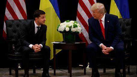 President Donald Trump meets with Ukrainian President Volodymyr