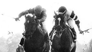 Alydar, left, and Affirmed battle in the Belmont