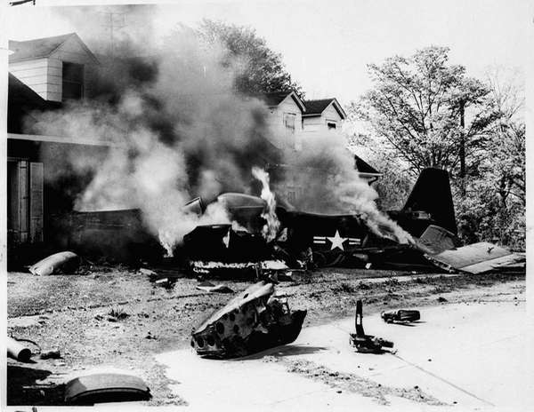 Lieut. Andrew Wallace's F-82 Interceptor burns after crashing