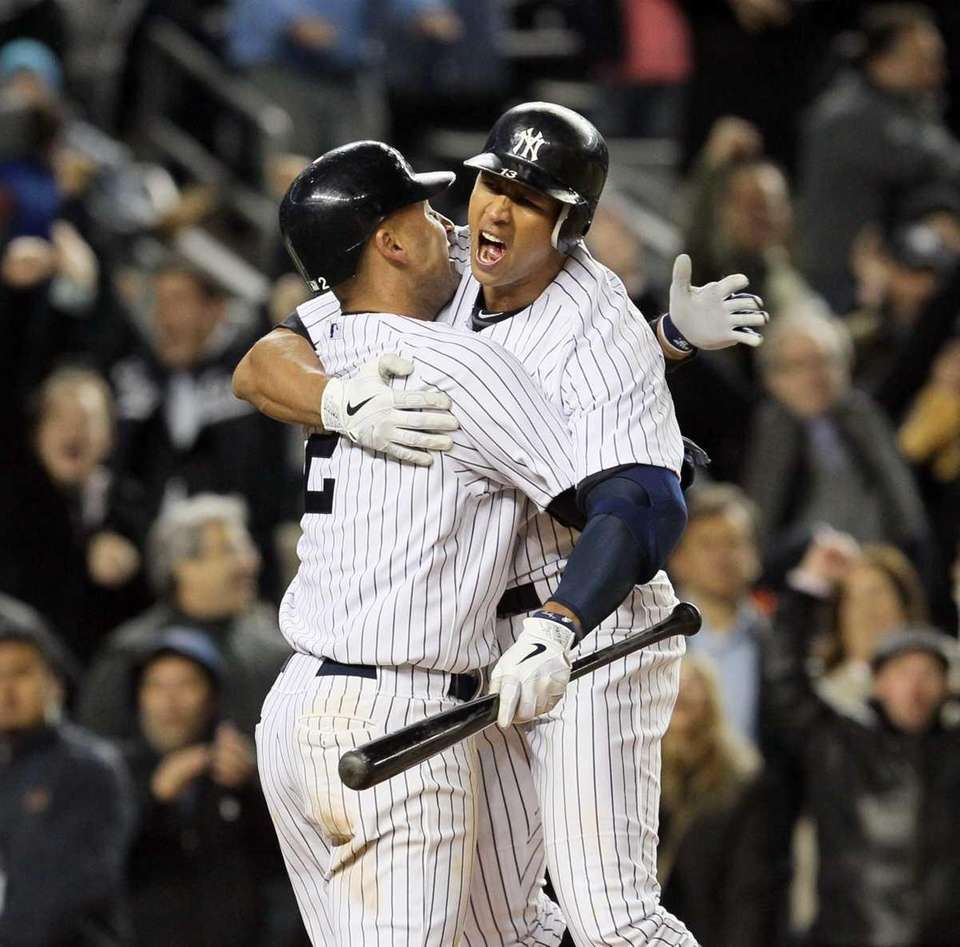 Derek Jeter #2 and Alex Rodriguez #13 of