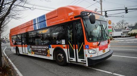 A NICE bus heads down the Hempstead Turnpike