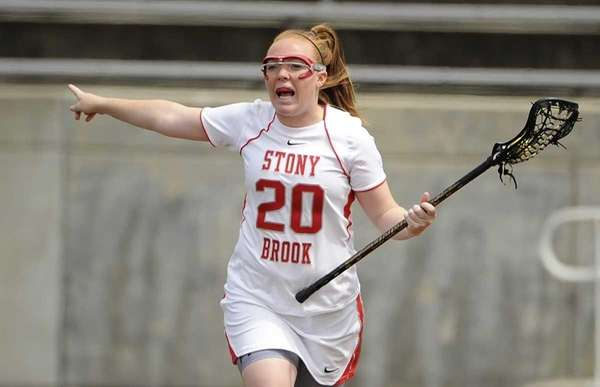 Stony Brook attacker Claire Peterson directs the offense