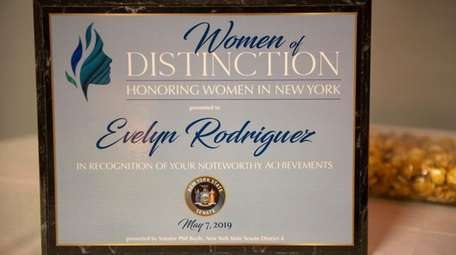 A plaque honoring Evelyn Rodriguez was displayed at