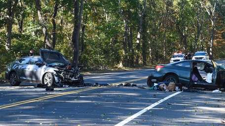 Suffolk County police are investigating a two-car crash