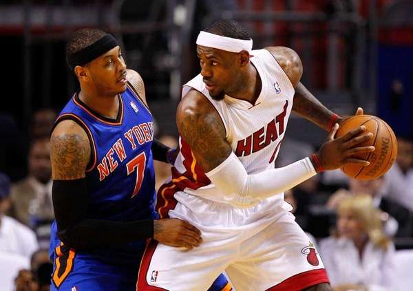 LeBron James #6 of the Miami Heat posts