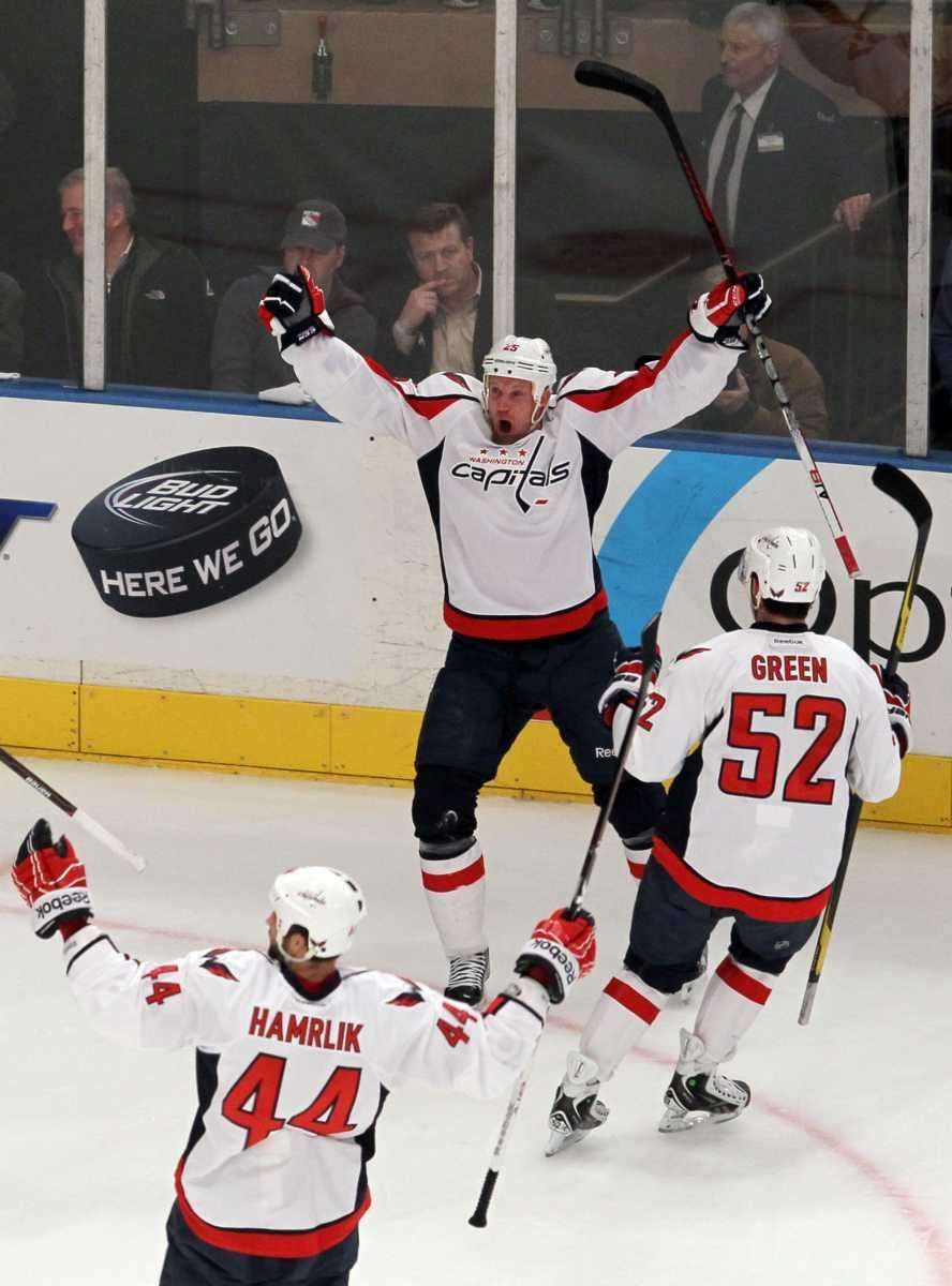 Jason Chimera #25 of the Washington Capitals celebrates