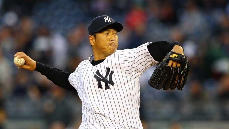 Hiroki Kuroda pitches against the Baltimore Orioles. (April