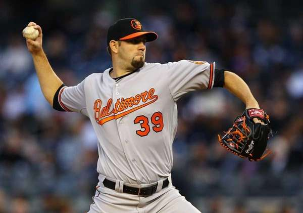 Jason Hammel #39 of the Baltimore Orioles pitches