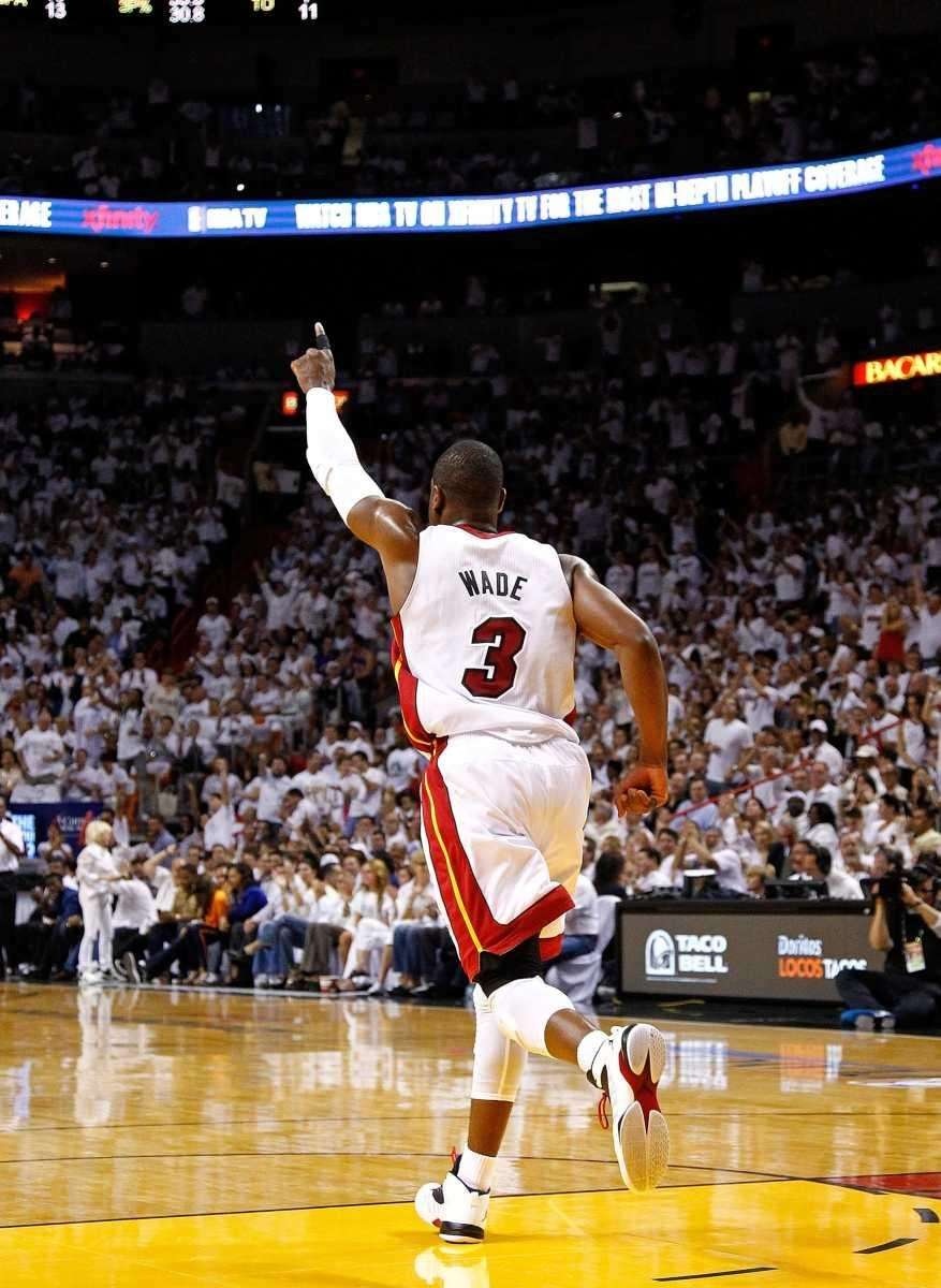 Dwyane Wade #3 of the Miami Heat reacts
