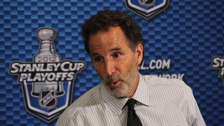 John Tortorella of the New York Rangers speaks