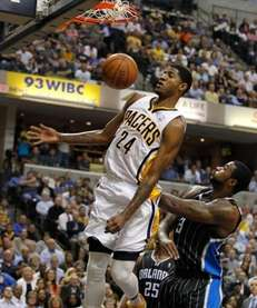Paul George #24 of the Indiana Pacers gets